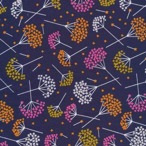 MIRABLAU DESIGN Stoffverkauf Bio Baumwolle Jersey GOTS Blumen Blüten orange gelb pink auf dunkelblau 16-110M 05m