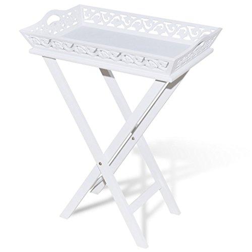 Anself Tabletttisch Serviertisch Klapptisch Beistelltisch aus Holz Weiß Klappbar
