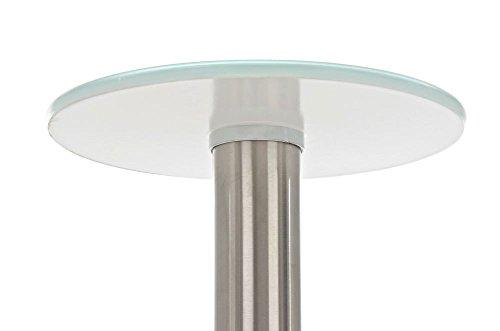 CLP Glastisch MARIDA Beistelltisch mit Edelstahlgestell Kaffeetisch mit einer 1 cm starken Sicherheitsglasplatte Weiß