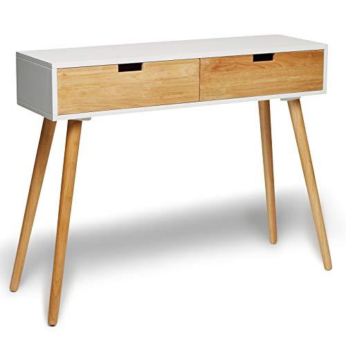 Konsolentisch Holz Weiß 100 x 30 x 80 cm Konsole Beistelltisch Schminktisch Schränckchen Kommode Anrichte Modern Skandinavisch Retro Design Look NEU