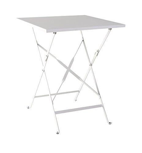 greemotion Klapptisch Mykonos weiß Balkontisch aus kunststoffummanteltem Stahl Beistelltisch ideal für 2 Personen witterungsbeständig und pflegeleicht Maße ca 60 x 60 x 72 cm
