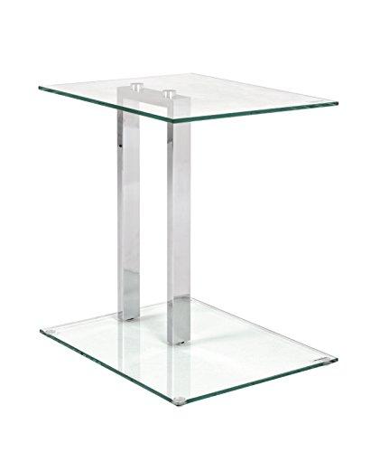 Beistelltisch Glastisch bzw Nachttisch in chrom aus Sicherheitsglas Maße BTH in cm 45 x 35 x 50