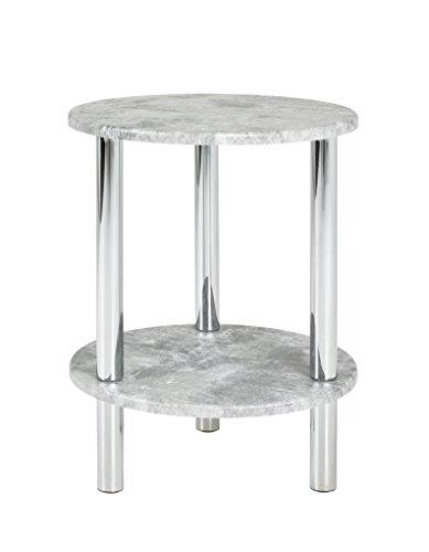 HAKU Möbel 90443 Beistelltisch Metall Chrom-Betonoptik 35 x 35 x 47 cm