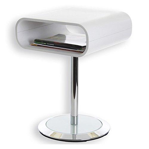 IDIMEX Beistelltisch Couchtisch VICTORIA in weiß und chrom mit Glasplatte im Fuß