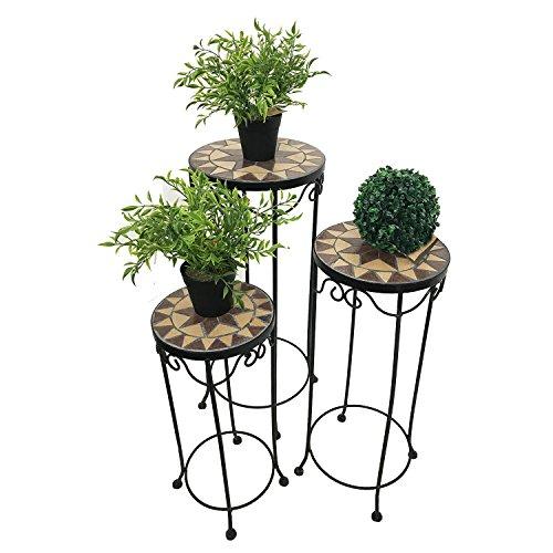 3er Set Mosaiktisch Blumenhocker Blumenregal Beistelltisch Metall Stern rund hoch