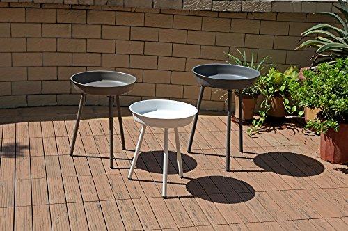3tlg Beistelltisch Set Gartentisch Garten Terrasse Balkon Tisch Möbel 3 farbig