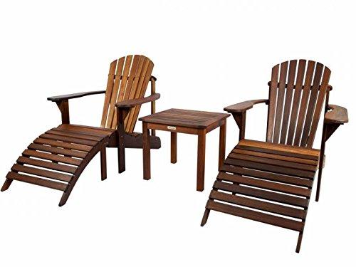 Adirondack Set geölt 2 Gartenstühle Beistelltisch 2 Fußstützen aus exklusivem Mahagoni Hartholz