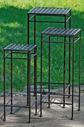 Gartentisch Beistelltisch Vito 3er Set in antikbraun Höhe 53 63 und 73 cm