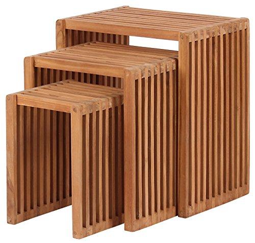Mr Deko Teak Beistelltisch 3er Set - Teak - Tisch - Gartentisch - Outdoormöbel - Teakholz - für Balkon Terrasse Wintergarten Garten