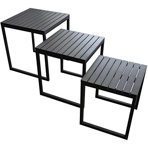 Multistore 2002 3er Set Alu-Beistelltische Polywood Tischplatte - Schwarz Couchtisch Wohnzimmertisch