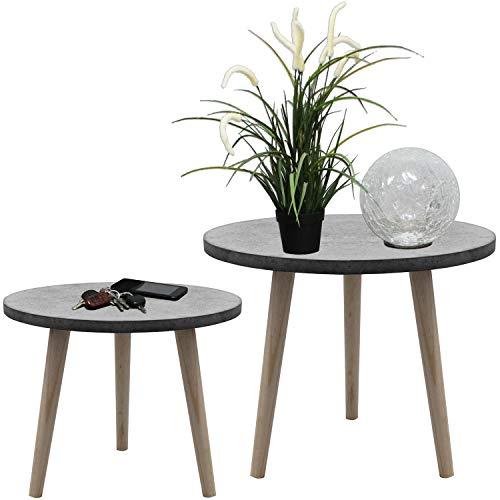 Wohaga 2er Set Satztische rund 3949cm GrauNatur Couchtische Telefontische Serviertische Blumentische Beistelltische aus Holz