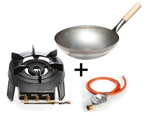 Wokbrenner Set  Gaskocher 92 KW mit Gasschlauch  Druckminderer  33 cm Stahl Asia-Wokpfanne mit Holzgriff Gusseisen Hockerkocher Asia Kocher Gastrokocher Gasherd Campingkocher für Wok