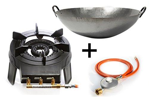Wokbrenner SetGaskocher 92 KW mit Gasschlauch  Druckminderer  45 cm Stahl Asia-Wokpfanne Gusseisen Hockerkocher Asia Kocher Gastrokocher Gasherd Campingkocher für Wok