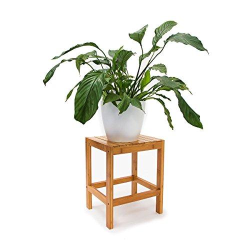 Relaxdays Bambushocker H x B x T 40 x 28 x 32 cm Badhocker aus hochwertigem Holz als universelles und dekoratives Accessoire als praktischer Beistelltisch und Blumenhocker für Ihre Wohnung natur