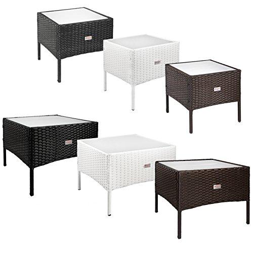 ESTEXO Beistelltische aus Polyrattan Teetisch Garten Rattan Tisch Gartenmöbel 50x50x40 cm Weiß