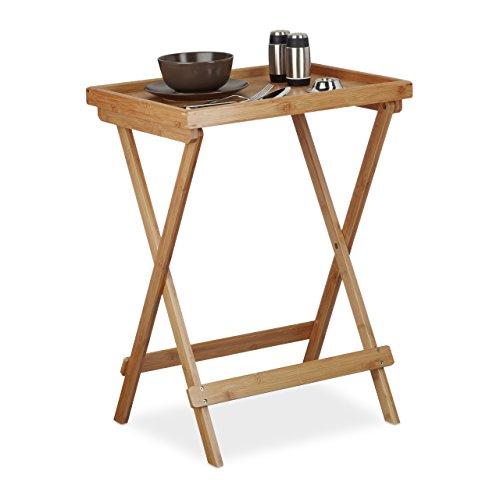 Relaxdays Tabletttisch Bambus H x B x T ca 66 x 50 x 385 cm Beistelltisch mit Tablett für Frühstück Klapptisch als Serviertisch Serviertablett natur