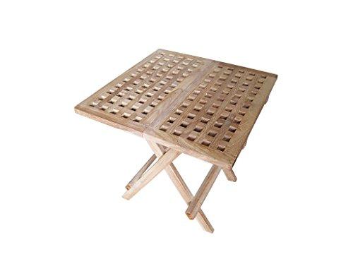 Tinggal Beistelltisch Clara Teak Holz Gartenmöbel Klapptisch Massiv Quaratisch 50cm DI2900
