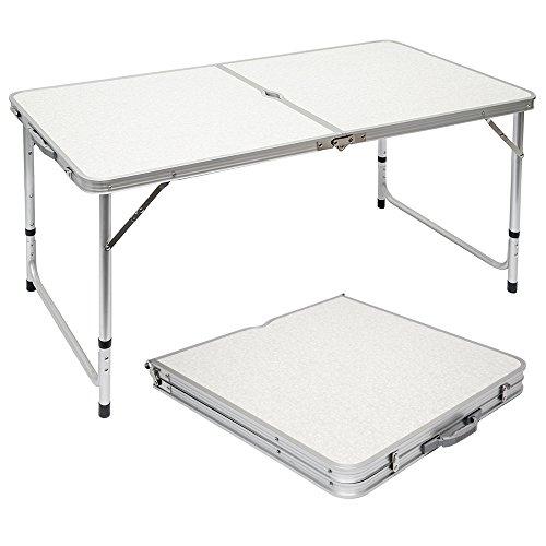 AMANKA klappbarer Stabiler Campingtisch 120x60x70cm höhenverstellbar tragbar Kofferformat Aluminium Hell Grau
