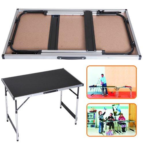 DXP Campingtisch Klapptisch höhenverstellbar Tisch 120x60x55-70cm Tapeziertisch Falttisch MDF Tischplatte