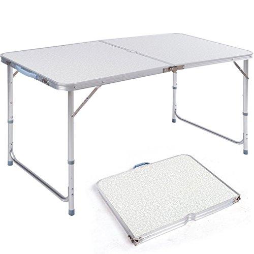 MERITON Campingtisch aus Aluminium Gartentisch Höhenverstellbarer Buffettisch Klapptisch Koffertisch 120 x 60 cm praktisches Kofferformat