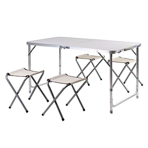 Blackpoolal Campingtisch mit Stühlen Koffertisch Set Klapptisch mit 4 Sitzhocker Garten Klappbar Campingmöbel Sitzgruppe Aluminium 120CM Weiß
