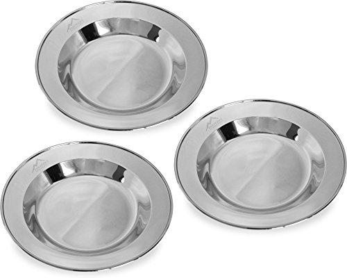 normani 1-3 Stück robuste Edelstahl Camping Teller rostfrei Farbe 3 Stück -Silber
