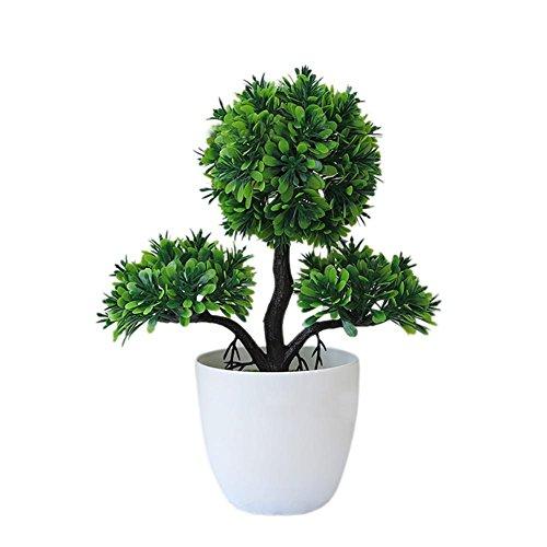 Bouder künstliche Topfpflanze Bonsai künstliche Kunststoffbäume in Töpfen Pflanzen Topfdekoration Garten Hof Außenbereich Innendekoration grün