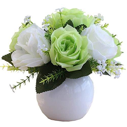 Jnseaol Kunstblumen Sehr Realistische Keramik Topf Künstliche Blumen Hochzeit Party Küche Familie Garten Fensterbank Dekoration Diy Topfpflanzen Grün Weiß -07