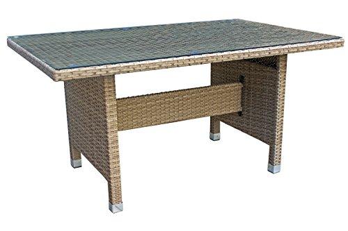 Avanti Trendstore - Gartentisch in Rattan Struktur in Aluminium Farbe Schlamm inkl Glasplatte ca 130x66x80cm