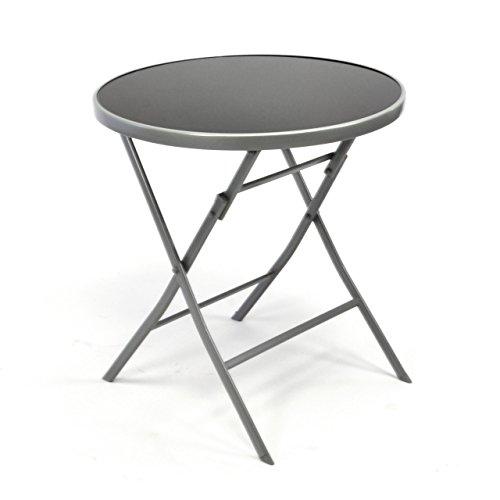 Nexos Bistrotisch mit Glasplatte klappbar Terrassentisch Gartentisch Glastisch schwarz