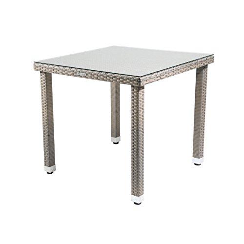 Tisch Malana Gartentisch mit Glasplatte Balkontisch mit Höhenverstellbaren Füßen witterungsbeständiges Polyethylengeflecht Besonders Pflegeleicht ca 80 x 80 x 74 cm Grau Bicolor
