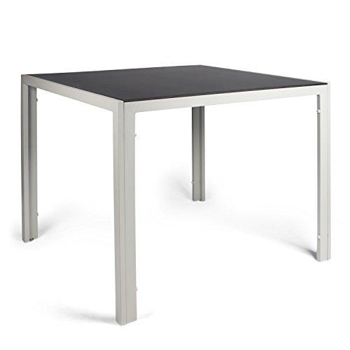 Vanage Aluminium Gartentisch in Grau mit Strukturierter Glasplatte in Schwarz - Gartenmöbel - Aluminiumtisch für Garten Terrasse und Balkon Geeignet - 90 x 90 cm
