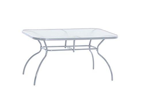 greemotion Tisch Prag silber Gartentisch mit klarer Glasplatte rechteckiger Esstisch mit robustem Stahlgestell ideal für ca 4-6 Personen
