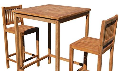 ASS Bar-Set - Teak Bartisch Bistrotisch Stehtisch 80x80cm mit 2X Barhocker Holz Modell JAV-BIMA-SET80 von