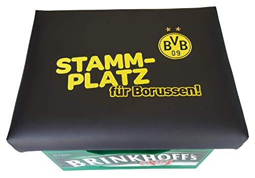 BVB Bierkastensitz Kissen Fanartikel Stadion oder Stammplatz Borussia Dortmund Bierkasten Sitz Sitzkissen schwarz gelb nur der bvb Bierkasten Aufsatz Bierkiste für Stehtisch Hocker Stammplatz