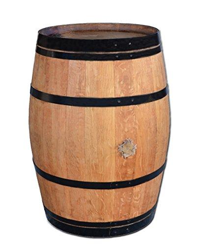 Stehtisch aus Weinfass Dekofass Gartentisch aus Holzfass - Fass geschliffen und geölt mit schwarzen Ringen