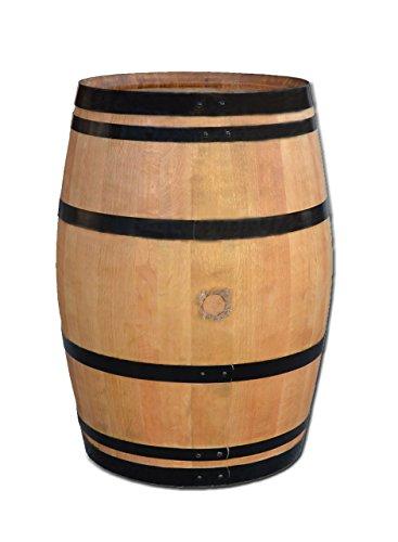Stehtisch aus Weinfass Dekofass Gartentisch aus Holzfass - Fass geschliffen und lackiert mit schwarzen Ringen