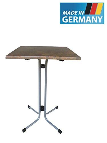 MFG Stehtisch klappbar Made in Germany 70 x 70 cm Durchmesser Höhe 110 cm Graphit farbenes Gestell wetterfeste Werzalitplatte in Vulcano-Optik Tüv Geprüft 40