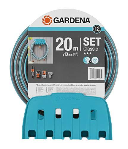 GARDENA Wandschlauchhalter mit Schlauch Set mit 20 m Schlauch Spritze und Halterung Schlauch ist druckresistent und formstabil mit allen GARDENA Geräten kombinierbar 18005-20