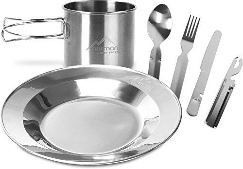 normani Camping Edelstahl Geschirrset Besteck  Teller  Tasse Farbe Silber 2