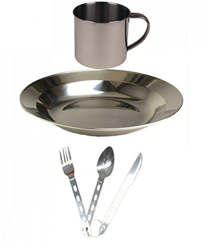 Diverse Leichtes Edelstahl Campingset Tasse Teller Besteck 1-Personen