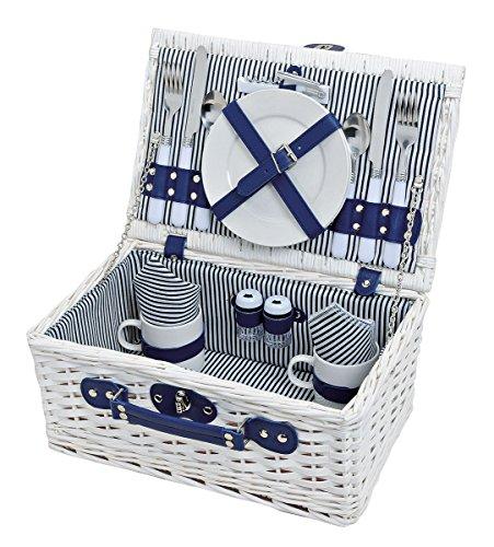 levandeo Picknick-Korb Tragekorb Koffer aus Weide in blau weiß für 2 Personen - maritim 16 Teile Besteck Teller Tasse Service