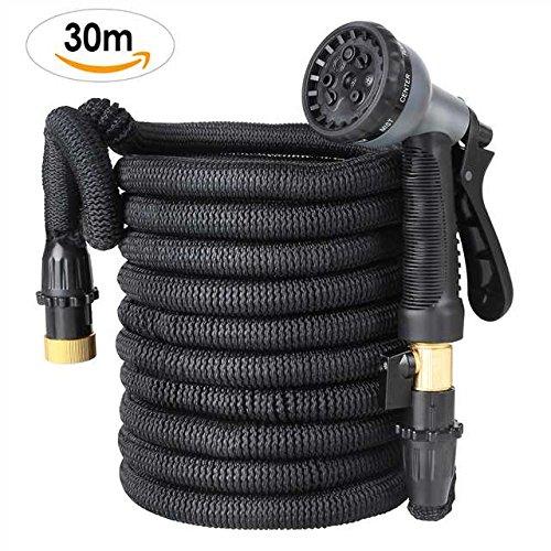 FIXKIT Flexischlauch Gartenschlauch Wasserschlauch Erweiterbar Bewässerung Stretch Schlauch mit 8 Funktion flexible dehnbar für Gartenbewässerung und Reinigung Schwarz 30m