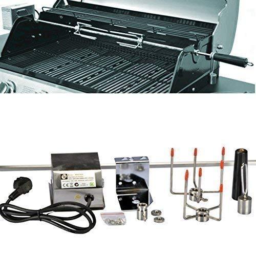 Drehspieß für Schaschlik 104 cm Edelstahl für Grill mit Motor 220 V 10 x 10 mm