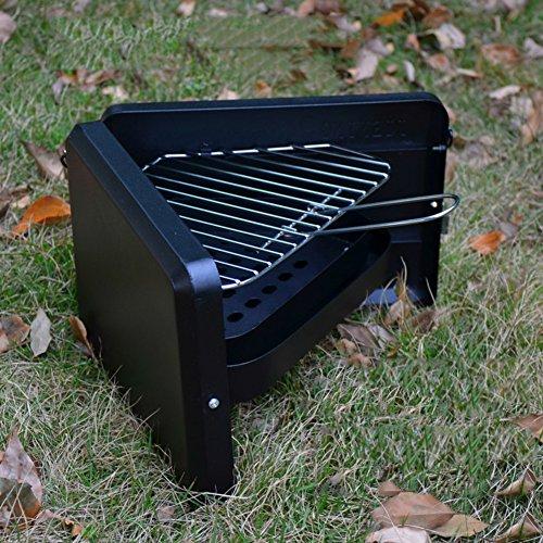 TY&WJ Outdoor Mini Holzkohlegrill Faltbar Tragbarer Grill Bbq Barbecue Werkzeug 1-2 Personen 395x31x21cm16x12x8inch - Schwarz