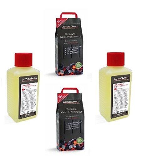 2x LotusGrill Buchenholzkohle 25 kg Sack inkl 2x LotusGrill Brennpaste 200 ml beides entwickelt für raucharmes Grillen mit dem LotusGrill