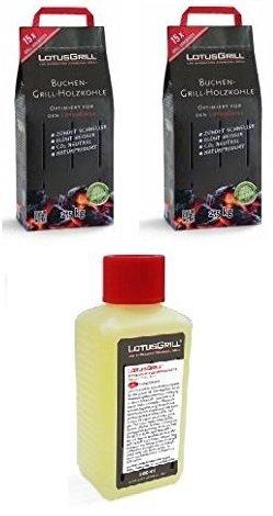 2x LotusGrill Buchenholzkohle 25 kg Sack inkl LotusGrill Brennpaste 200 ml beides entwickelt für raucharmes Grillen mit dem LotusGrill