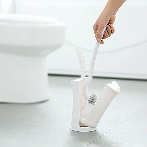 BEAUTOP Creative WC-Bürste Scrubber Halter Set Badezimmer Kunststoff Reinigung Pinsel mit Halter Gras Form Reinigungs-Set Plastik weiß 105  39cm