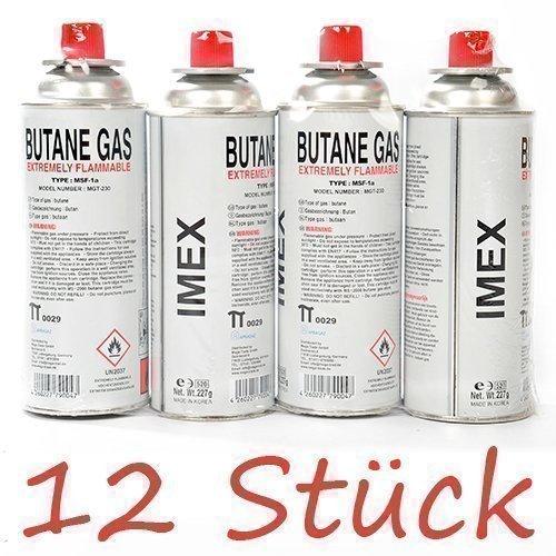 Gaskartuschen Imex  12 Stück  für Gaskocher Butan
