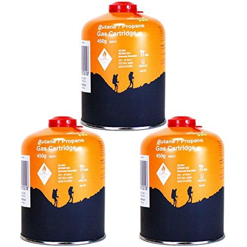 Yellowstone GA011 3 x Schraubkartusche Ventil Gas Kartusche Kocher Butan Propan 450 g